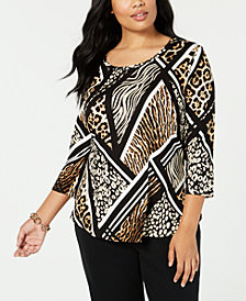 JM Collection Plus Size Geometric Animal-Print Top, Created for Macy's