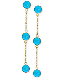 EFFY® Manufactured Turquoise (5mm) Drop Earrings in 14k Gold