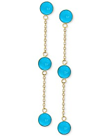 EFFY® Turquoise (5mm) Drop Earrings in 14k Gold