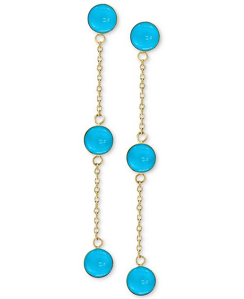 EFFY Collection EFFY® Turquoise (5mm) Drop Earrings in 14k Gold