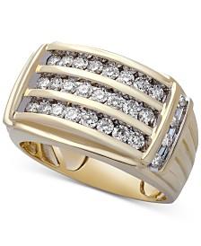 Men's Diamond Multi-Row Ring (1 ct. t.w.) in 10k Gold