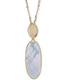 "Mother-of-Pearl Oval Pendant Necklace in 14k Gold-Plated Sterling Silver, 18"" + 2"" extender"