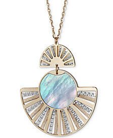 "Mother-of-Pearl Two-Tone Fan Pendant Necklace in Sterling Silver & 14k Gold-Plate, 18"" + 2"" extender"