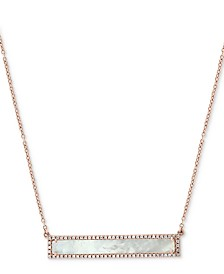 "EFFY® Mother-of-Pearl & Diamond (1/5 ct. t.w.) Pendant Necklace in 14k Rose Gold, 16"" + 2"" extender"
