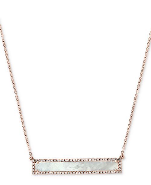 """EFFY Collection EFFY® Mother-of-Pearl & Diamond (1/5 ct. t.w.) Pendant Necklace in 14k Rose Gold, 16"""" + 2"""" extender"""