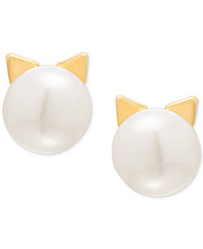 Children's Cultured Freshwater Button Pearl (7-3/4mm) Cat Stud Earrings in 14k Gold