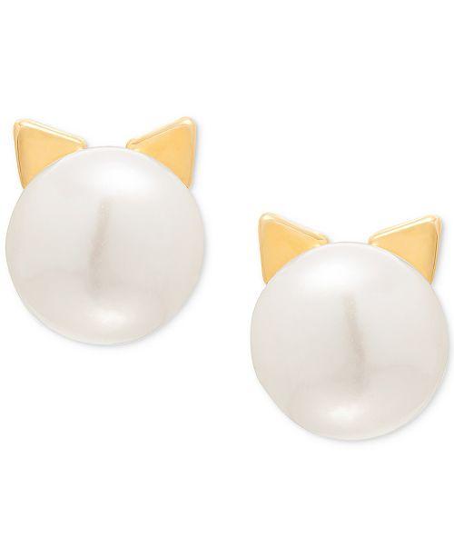 b06788d07 ... Macy's Children's Cultured Freshwater Button Pearl (7-3/4mm) Cat Stud  Earrings ...