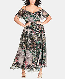City Chic Trendy Plus Size Sacred-Jungle Maxi Dress