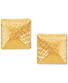 Textured Pyramid Stud Earrings in 10k Gold