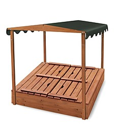 Covered Convertible Cedar Sandbox With Canopy And Two Bench Seats