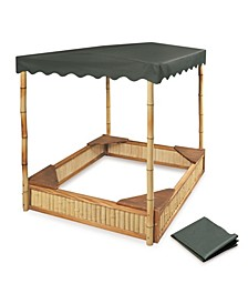 Tropical Fun Bamboo Sandbox With Canopy And Cover