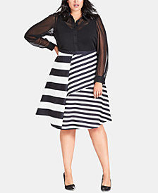 City Chic Trendy Plus Size Striped A-Line Skirt