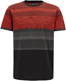 BOSS Men's Striped Logo-Graphic Cotton T-Shirt