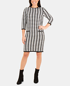 NY Collection Houndstooth-Print Sweater Dress