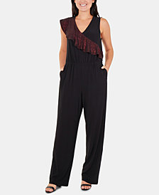 NY Collection Asymmetrical Glitter Ruffle Jumpsuit