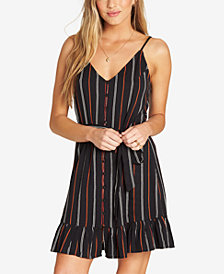 Billabong Juniors' Striped Ruffle-Hem Dress