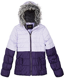 Jessica Simpson Big Girls Hooded Colorblocked Puffer Jacket with Faux-Fur Trim