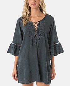 Juniors' Salt Water Solids Long-Sleeve Dress Cover-Up