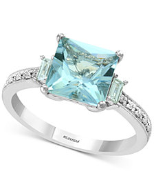 Bridal by EFFY® Aquamarine (2-1/10 ct. t.w.) & Diamond (1/6 ct. t.w.) in 18k White Gold