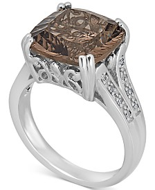 Smoky Topaz (4 ct. t.w.) & Diamond Accent Statement Ring in Sterling Silver