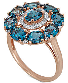 London Blue Topaz (4-5/8 ct. t.w.) & Diamond (1/8 ct. t.w.) Ring in 14k Rose Gold