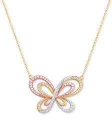 "Cubic Zircoina Tricolor Butterfly 18"" Pendant Necklace in Sterling Silver & Gold- and Rose-Gold Plate"
