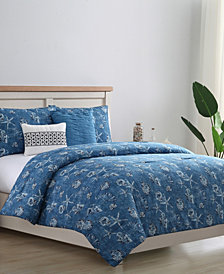 VCNY Coastal Denim 5-Pc Reversible Bedding Comforter Sets