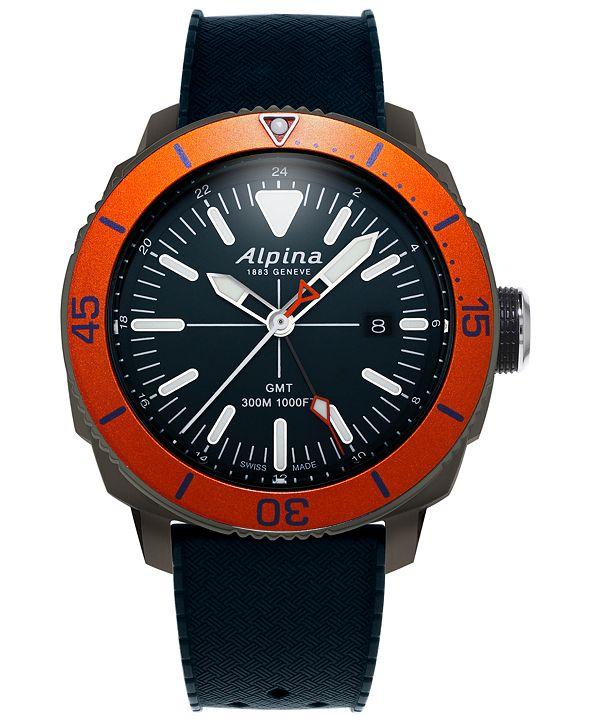 Alpina Men's Swiss Seastrong Diver Blue Rubber Strap Watch 44mm