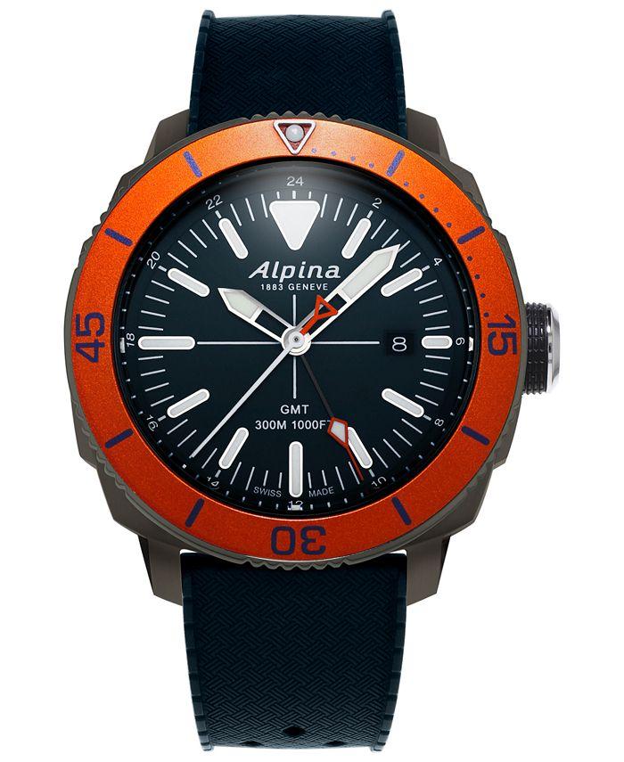 Alpina - Men's Swiss Seastrong Diver Blue Rubber Strap Watch 44mm