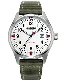 Men's Swiss Startimer Pilot Green Nylon Strap Watch 42mm