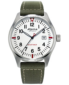 Alpina Men's Swiss Startimer Pilot Green Nylon Strap Watch 42mm
