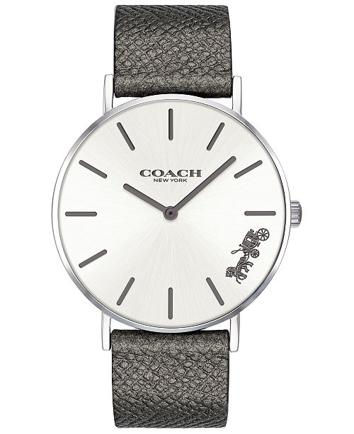 02e5d6f12d ... COACH Women's Perry Gray Leather Strap Watch 36mm Created for Macy's ...