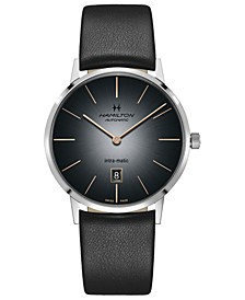 Men's Swiss Automatic Intra-Matic Black Leather Strap Watch 42mm