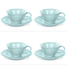 Portmeirion Sophie Conran Celadon Teacup & Saucer Set of 4