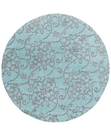 CLOSEOUT!  Cosmopolitan COS-9202 Teal 8' Round Area Rug