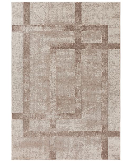 "Libby Langdon Winston Block Border 5813 Cream 7'7"" x 10'10"" Area Rug"