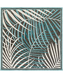 "Portera PRT-1062 Teal 7'6"" Square Area Rug, Indoor/Outdoor"