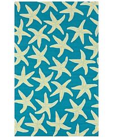 CLOSEOUT!  Rain RAI-1137 Bright Blue 5' x 8' Area Rug, Indoor/Outdoor