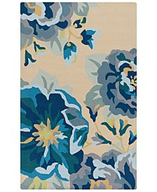 Rain RAI-1231 Bright Blue 5' x 8' Area Rug, Indoor/Outdoor