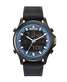 Men's Analog-Digital Black Textured Silicone Strap Watch 44mm