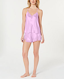 I.N.C. Satin Lace-Trimmed Cami & Shorts Pajama Set, Created for Macy's