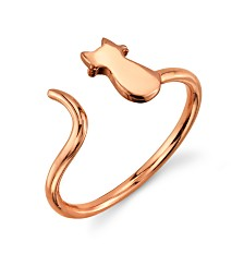 Unwritten Cat Tail Adjustable Ring in Rose Gold Flashed Sterling Silver