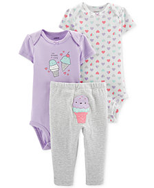 Carter's Baby Girls 3-Pc. Cotton Scoops Of Cute Bodysuits & Ice Cream Pants Set