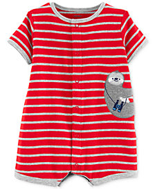 Carter's Baby Boys Cotton Striped Sloth Romper