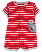 492882feb9c Carter s Baby Boys Cotton Striped Sloth Romper