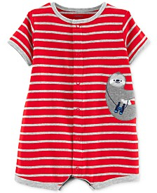 98bc96425ad1 Carter s Baby Boys Cotton Striped Sloth Romper