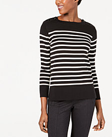 Anne Klein Striped High-Low Sweater