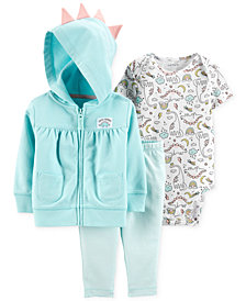Carter's Baby Girls 3-Pc. Cotton Dinosaur Hoodie, Bodysuit & Leggings Set