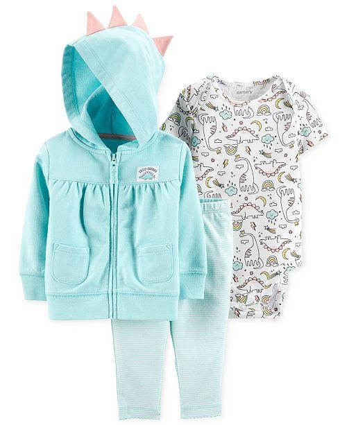 a04421299 Carter's Baby Girls 3-Pc. Cotton Dinosaur Hoodie, Bodysuit & Leggings Set