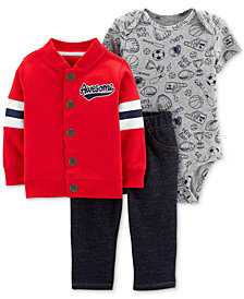 Carter's Baby Boys 3-Pc. Cotton Jacket, Bodysuit & Denim Pants Set